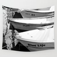 boats Wall Tapestries featuring boats by habish