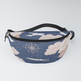Vintage Travel with Aero and Nautical Themes Fanny Pack