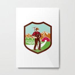 Organic Farmer Rake Woodcut Shield Retro Metal Print