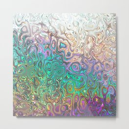 Colorful Silver Aquamarine Pink Reflections Metal Print