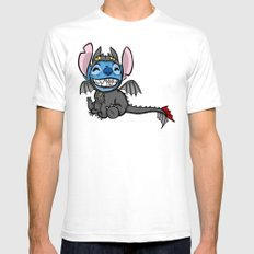 Toothless Stitch White Mens Fitted Tee MEDIUM