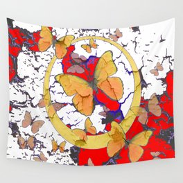YELLOW  BUTTERFLIES IN WHITE & RED ABSTRACT Wall Tapestry
