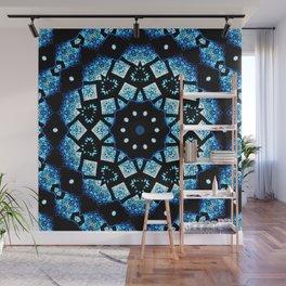 Blue Black Mosaic Kaleidoscope Mandala Wall Mural