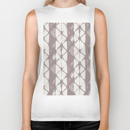 Simply Braided Chevron Red Earth on Lunar Gray Biker Tank