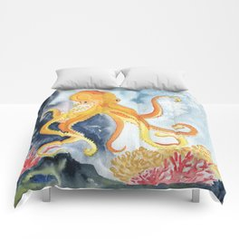 Octopus Watercolor 2 Comforters