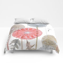 Red dandelions, watercolor Comforters