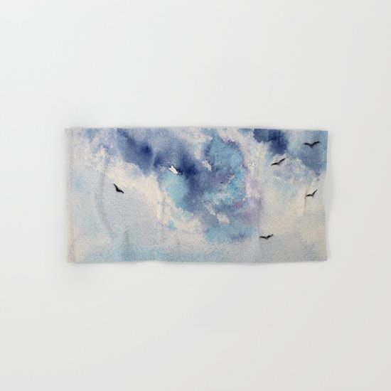 Dramatic sky || watercolor Hand & Bath Towel