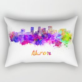 Akron OH skyline in watercolor Rectangular Pillow