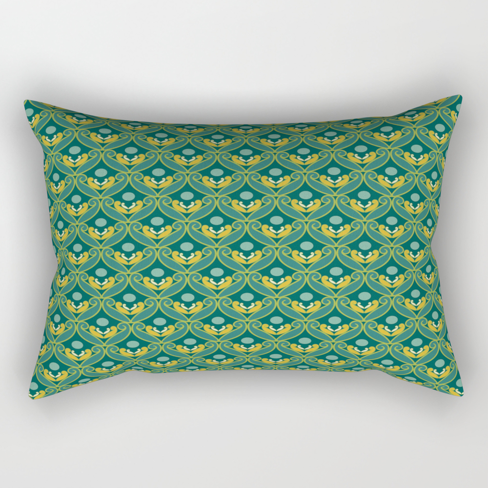Stylized Lotus In Blue, Green And Gold Rectangular Pillow RPW8867942
