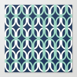 Retro Mid-Century Modern Geometric Oval Lattice Pattern Canvas Print
