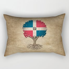 Vintage Tree of Life with Flag of Dominican Republic Rectangular Pillow