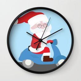 Santa Claus coming to you on his Scooter Wall Clock