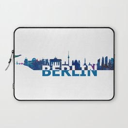 Berlin Skyline Silhouette Strong with Text Laptop Sleeve