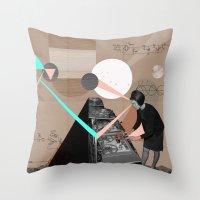 superheroes Throw Pillows featuring Superheroes SF by Natalie Nicklin