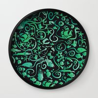 mermaids Wall Clocks featuring Mermaids by hank