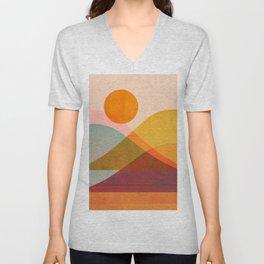 Abstraction_SUNSET_LANDSCAPE_POP_ART_Minimalism_018X Unisex V-Neck