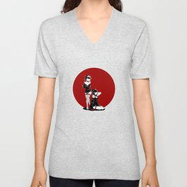 Two Geisha Pinups Unisex V-Neck