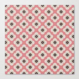 Starburst Floral, Scandinavian Pink background Canvas Print