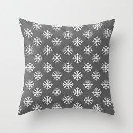 Snowflakes (White & Grey Pattern) Throw Pillow