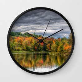 Reflection in Pond Vermont Autumn Wall Clock