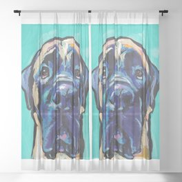 Fun ENGLISH MASTIFF Dog bright colorful Pop Art Painting by LEA Sheer Curtain