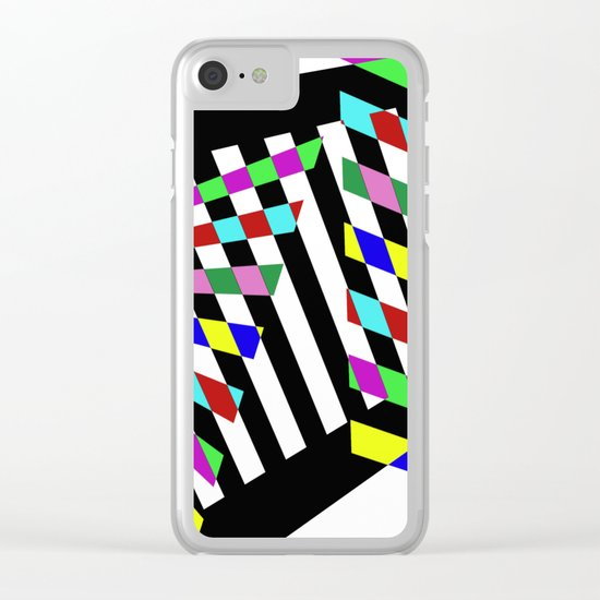 Lost Dimension - Abstract 3D style, multicoloured, geometric artwork Clear iPhone Case