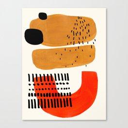 Mid Century Modern Abstract Minimalist Retro Vintage Style Fun Playful Ochre Yellow Ochre Orange Sha Canvas Print