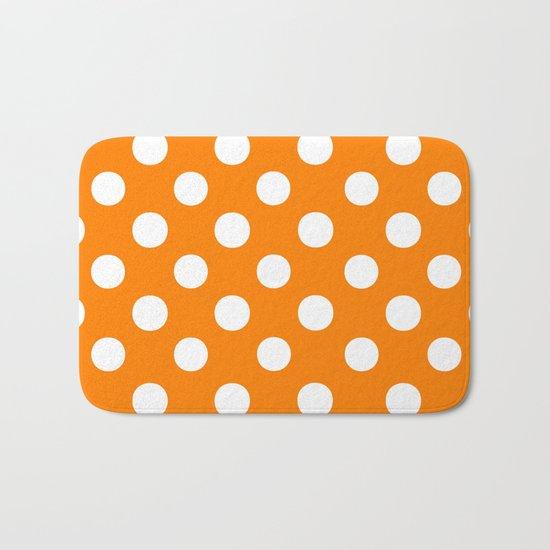 Polka Dots (White/Orange) Bath Mat