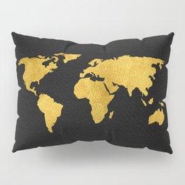 Metallic Gold Foil World Map On Black Pillow Sham