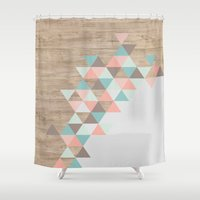 triangle Shower Curtains featuring Archiwoo by Marta Li