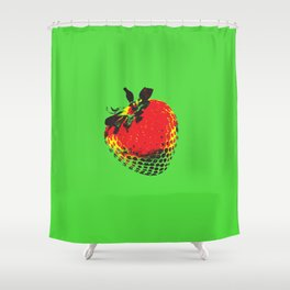 Strawberry Green - Posterized Shower Curtain
