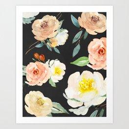 Watercolor Flower Collage on Chalkboard Art Print