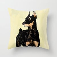 doberman Throw Pillows featuring Doberman by Cassandra Jean