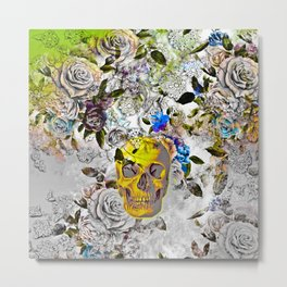 Golden Skull Metal Print