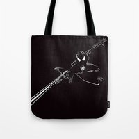 spider man Tote Bags featuring SPIDER MAN by MISTER BLACKWHITE