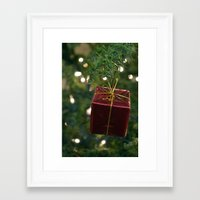 gift card Framed Art Prints featuring Christmas Gift by Selene D