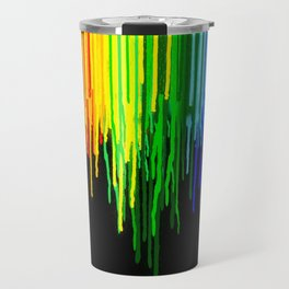 Rainbow Paint Drops on Black Travel Mug