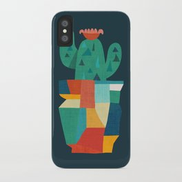 Blooming cactus in cracked pot iPhone Case