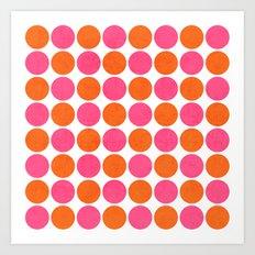 orange and hot pink dots Art Print