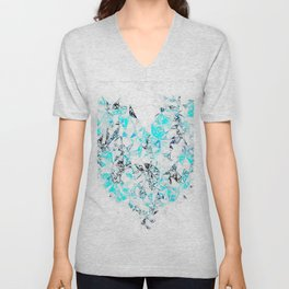 blue heart shape abstract with white abstract background Unisex V-Neck
