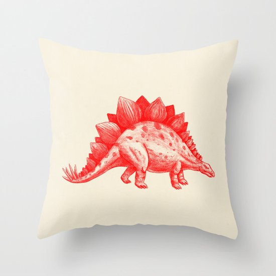 Red Stegosaurus  Throw Pillow