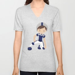 Rugby, Cute Boy, Brown Hair, American Football Unisex V-Neck
