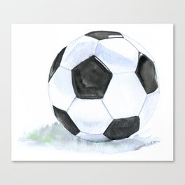 Soccer Ball Watercolor Canvas Print