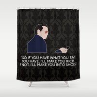 moriarty Shower Curtains featuring A Scandal in Belgravia - Jim Moriarty by MacGuffin Designs
