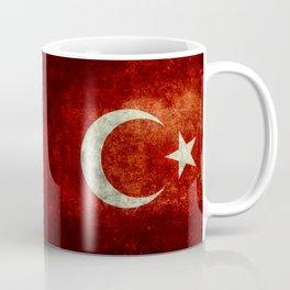 Flag of Turkey, in Grungy Vintage Coffee Mug