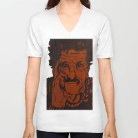 vonnegut V-neck T-shirts featuring Kurt Vonnegut, Jr. by Emily Storvold