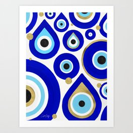 Evil Eye Charms on White Art Print