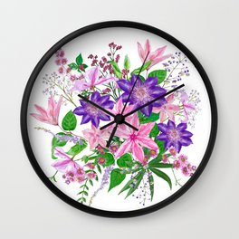 Bouquet with pink and violet clematis flowers Wall Clock