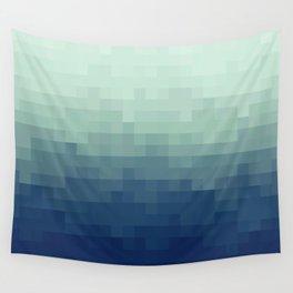 Gradient Pixel Aqua Wall Tapestry