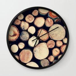 Wood Pile Wall Clock